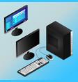 realistic black desktop pc in isometry vector image