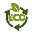 recycling isolated icon green leaf and eco sign vector image vector image
