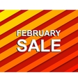 Red striped sale poster with FEBRUARY SALE text vector image vector image