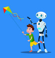 robot with child fly a kite isolated vector image vector image