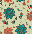 romantic doodle floral pattern with birds vector image