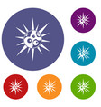 round cell virus icons set vector image vector image