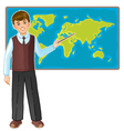 Schoolboy at map of the world eps10 vector image vector image