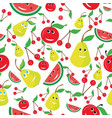seamless pattern of fruits in cool graphic vector image vector image