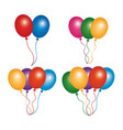 set colored balloons decoration ornament party vector image