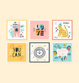 set colorful doodle cards flat vector image vector image