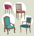 set isolated armchairs and chairs vector image vector image