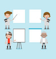 set of doctor character with blank banners vector image vector image