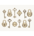 Set of vintage keys and locks vector image vector image