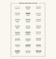 sewing machine stitches with titles vertical vector image