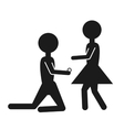 silhouette couple marriage proposal design vector image vector image