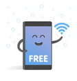 smartphone concept of free wi-fi cute cartoon vector image vector image