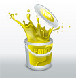 splash yellow paint realistic 3d image vector image