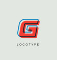 stunning letter g with 3d color contour vector image vector image
