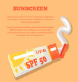 sunscreen poster depicting sunblock lotion vector image vector image