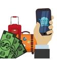 travel smartphone shop online money suitcase vector image
