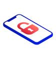 unlock smartphone icon isometric style vector image