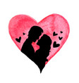 watercolor heart and silhouette of couple vector image vector image