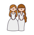 wedding brides women in elegant dress cartoon vector image vector image