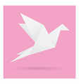 white bird paper craft flying in frame art vector image vector image