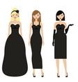 women in black dresses female night evening vector image vector image
