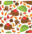seamless pattern hedgehog in a forest clearing vector image