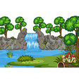 a waterfall nature template vector image