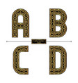 alphabet celtic golden style in a set abcd vector image vector image