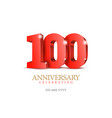 anniversary 100 red 3d numbers vector image vector image