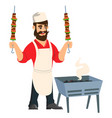 arabi chef with kebab hands emblem avatar vector image