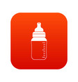 baby milk bottle icon digital red vector image vector image