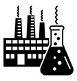chemistry flask factory icon simple style vector image vector image