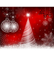 christmas red background with tree and balls in vector image vector image