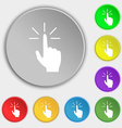 Click here hand icon sign Symbols on eight flat vector image vector image