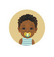 cute afro american african child with a pacifier vector image vector image
