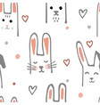 cute cartoon baby rabbit or bunny seamless pattern vector image
