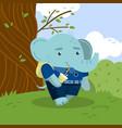 cute little elephant student in school uniform vector image vector image