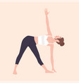 cute woman in trikonasana or triangle pose female vector image vector image