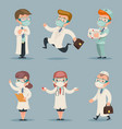 different doctors positions and actions character vector image vector image