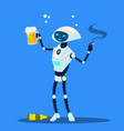 drunk robot with cigarette and glass of beer vector image vector image