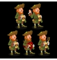 Five traditional leprechauns with different items vector image