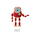 funny cartoon red friendly robot character vector image vector image