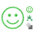 glad smiley mosaic of weed leaves vector image