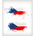 Grunge czech ink splattered flag vector image vector image