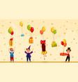 happy children getting birthday presents gift vector image vector image