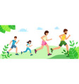 happy family with children running or jogging for vector image
