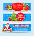happy new year blue banner set vector image vector image