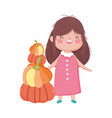happy thanksgiving day cute little girl with stack vector image