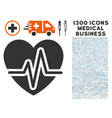 heart pulse icon with 1300 medical business icons vector image vector image