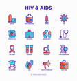 hiv and aids thin line icons set vector image